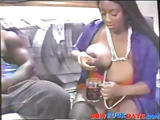 Mega Fat Ebony Squirting Breast Milk on Huge Cock