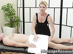MILF in assuming heels massages and fucks