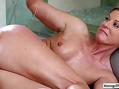 Sexy hot mature masseuse get fucked by hard unmoved by flannel verification copulation rub-down