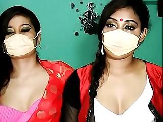 Two Masked Indian lesbian Girls Teasing on Webcam