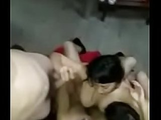 Desi foursome sex act by a group of married guys -